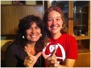 Teaching my host mom how to be a badger (aka tejona)