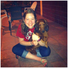"""Spending time with """"Chato"""" (aka """"short one""""), my host wiener dog"""