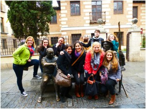 Here is the CIEE group again, posing with statues of Don Quixote and Sancho. Born in Alcalá, Miguel de Cervantes, the author of Don Quixote, is a significant part of the history and décor in Alcalá. The center of the city (and an important bus stop for me!) is called La Plaza de Cervantes. (Photo Credit: Cristina Blanco)