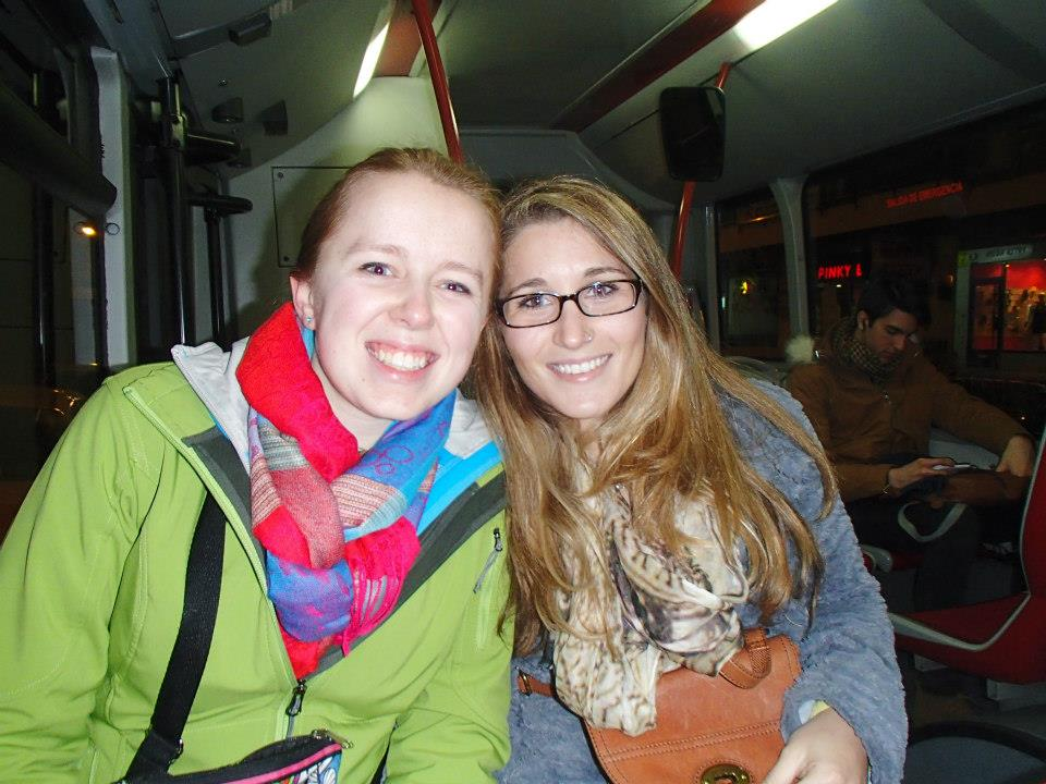 Riding the bus to the mall with Molly, a fellow Wisconsin Badger in the program! (Photo Credit: Brittni Matthews)