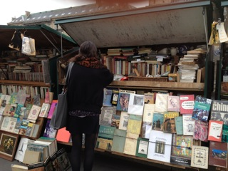 Some used-book stands along the Left Bank of the Seine.