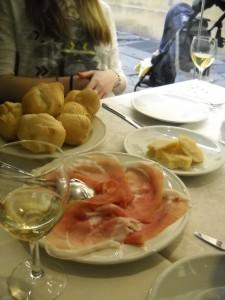 The appetizers: prosciutto, parmigiano reggiano, and bread
