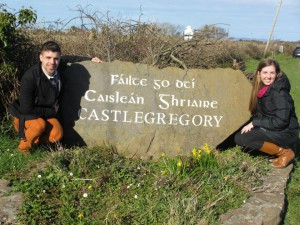 At the welcome sign to Castlegregory, Ireland.