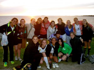 Watching the sunset with my soccer team in Colonia