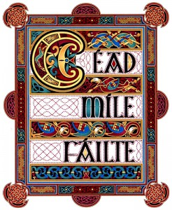 """Céad Míle Fáilte"" means ""A Hundred Thousand Welcomes"" in Irish and is a well-known Irish-language phrase, which makes as much sense in Ireland as it does in the US."