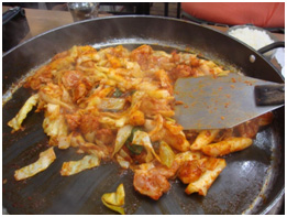 Chuncheon is famous for their 닭갈비, which is basically chicken.