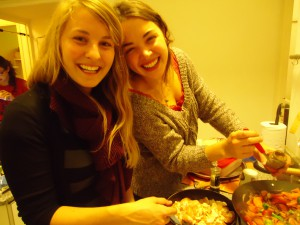 Making dinner with my friend Emma