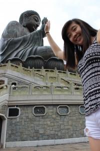 Giving the Lantau Island Big Buddaha a high five