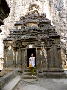 Temple carved out of stone at the Ellora caves