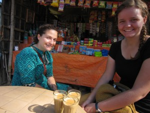 Morning chai before starting off our day's adventures in  Bodh Gaya.
