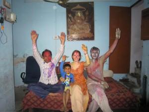 Happy Holi! From left to right: Pinku ji's uncle, Pinku ji's nephew, me, Pinku ji