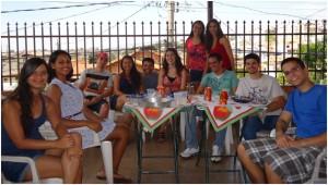 Enjoying good company at the Churrasco!