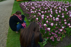 Katie and Mariah in their typical picture-taking stance. Also, the tulips are in bloom!