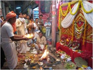 A puja for Hanuman's birthday which I stumbled upon in a Banarasi alleway
