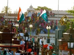 The India-Pakistan border closing ceremony, as seen from the Indian side