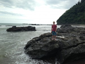 Exploring the beach at Jacó.