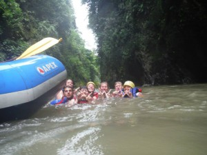 Taking a dip in the Pacuare River