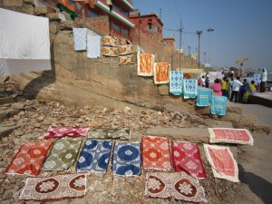 Laundry drying on one of the ghats