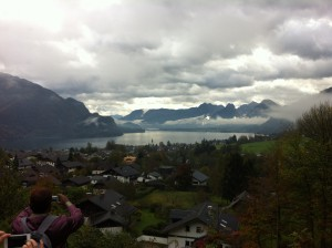 A rainy cloudy October day in Salzburg: a pit stop of the Sound of Music Tour.