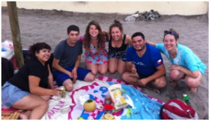 Chillin' with our Salsatec friends on the beach
