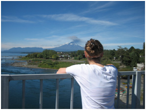 Looking at the volcano Villarrica, just moments before a code red volcano warning is put in place and the city is evacuated