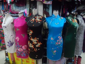 Qi Paos at fabric market