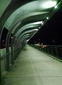 Taken while walking over a bridge toward campus in the evening.