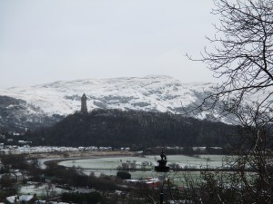 The William Wallace monument is just visible in this photograph, as well as the beginning of the highlands.