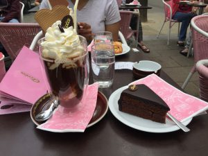 """""""Definitely was not the healthiest month of my life... I had this cake and coffee for breakfast in Vienna."""
